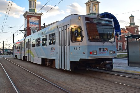 Cromwell-bound LRV at Convention Center station.