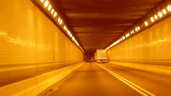Inside the eastbound tunnel at Tuscarora Mountain. Note the sodium lighting, which was unique to this tunnel complex at that time.