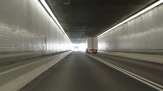 Inside the eastbound Kittatinny Mountain Tunnel. Note the fluorescent lighting.