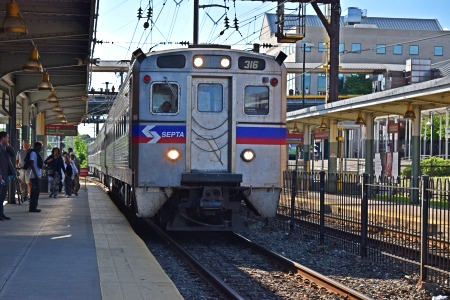 Our train arrives at Norristown Transportation Center
