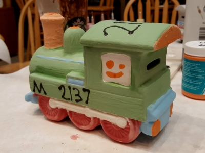 Elyse's train, in a green color scheme