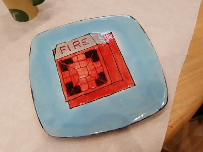 Front side of my plate, glazed and fired.