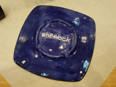 Back side of my plate, glazed and fired.