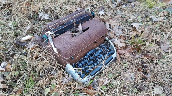 The typewriter, meanwhile, made me sad. It had been moved from where we found it before, and now it was missing a number of keys, and those keys that remained had clearly been smashed.