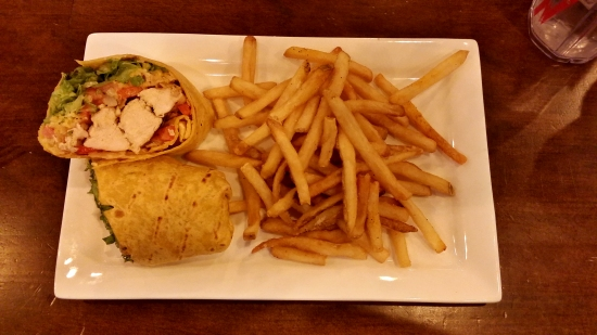 Dinner at Tilted Kilt. This is their southwestern wrap.