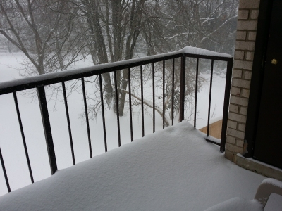 The reach of the snow on my balcony: all the way in!