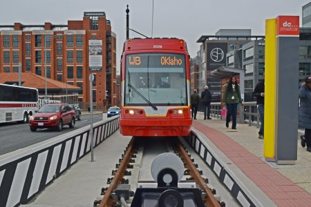 The end of the track on the Hopscotch Bridge, viewing the streetcar head-on.