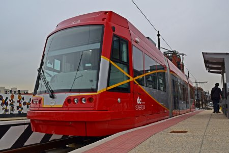 Platform-side view of the streetcar.