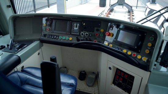"Controls on the ""B"" end of the streetcar. From the looks of it, the streetcar is controlled by foot pedals, just like the old PCC cars. In fact, this console looks a lot like the PCC car from The Hague that the Trolley Museum has in its collection."