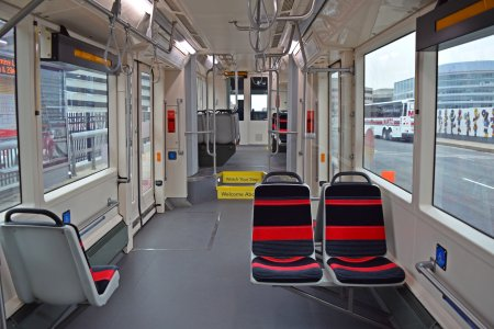 Middle section of the streetcar. Note the lack of seats, likely due to doors and wheelchair spots.