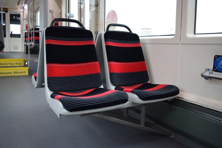 Streetcar seats. The pattern makes me think of beach chairs for some reason.