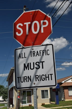 """All traffic MUST turn right"""