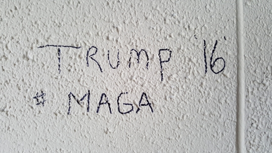 Trump graffiti in one of the rooms