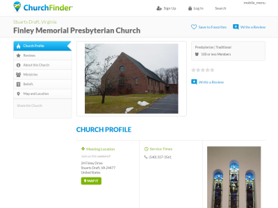 The ChurchFinder page for Finley Memorial Presbyterian Church
