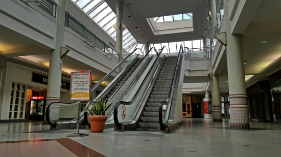 Escalators in the mall's northeast corner, viewed from the lower level.