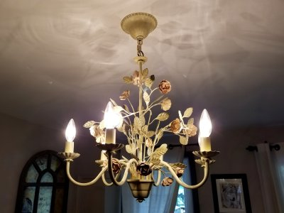 "This chandelier is in the basement bedroom.  It's the AF Lighting 7050-6H ""Ramblin' Rose"" six-light chandelier, and it's certainly unique."
