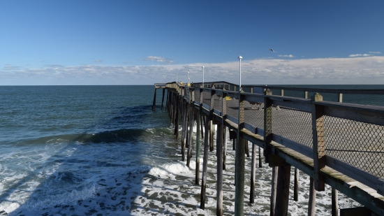 Ocean City fishing pier, viewed from a wide section about halfway down.