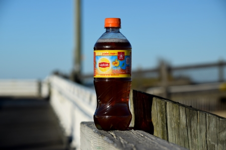 I found an unopened bottle of iced tea sitting on the railing, so I took a few photos of it.  Wonder if Kermit the Frog misplaced his tea?