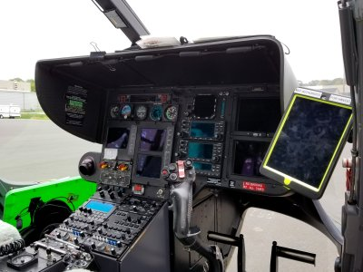 Helicopter controls. Note the iPad to the side.