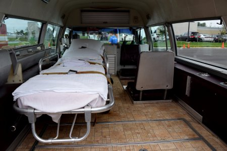 The back of the ambulance.
