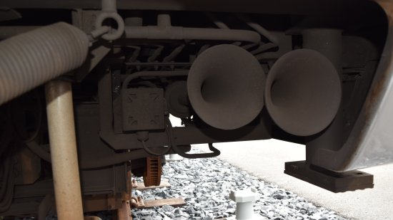 Horn assembly on car 4020.  The two things that look like horns are the traditional train horn, while that Wheelock 34T is a smaller horn used for other purposes.