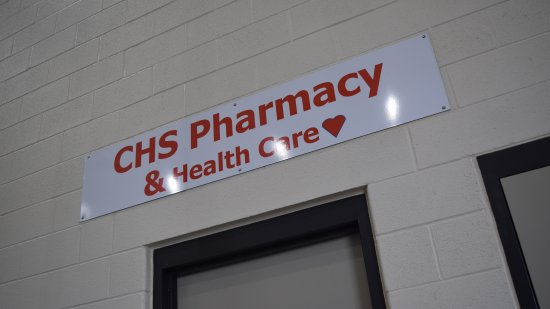 CHS Pharmacy. I wonder what that's supposed to represent...