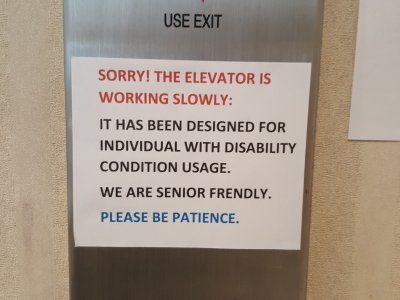 Elevator signage at the United Office Building