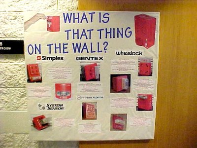 These two bulletin boards, both from November 2001, together discussed fire safety.