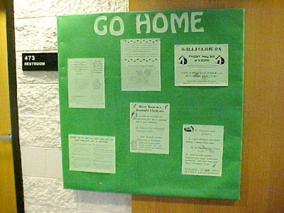 "The other bulletin board for April was dictated by service needs, i.e. information about the dorm's end-of-year closing.  Pretty straightforward.  The only things that I was responsible for were the background and the title.  Everything else was, ""Here, put this up."""