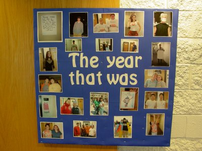 This one was fun.  It was the last bulletin board that I designed, and, like the previous year, was photos that I had taken of everyone over the course of the year.  The title came from a Tom Lehrer album.