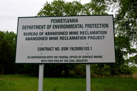 This sign advertised a state project that would work to reclaim the Centralia site, contract OSM 19(2000)103.1.