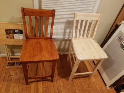 Completed first chair and second chair still unfinished.