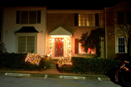 On the other side of my neighborhood, some simple white lighting around the door, and what looks like a blanket of lights on the hedges.