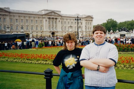 My sister and me in front of Buckingham Palace.