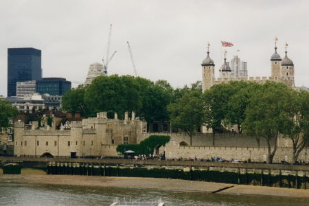 The Tower of London, viewed from our river boat.