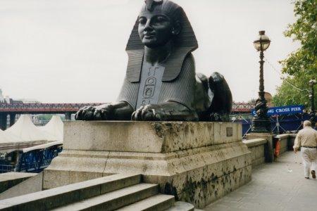 Sphinx next to Cleopatra's Needle.