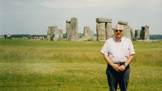Dad posing in front of Stonehenge.