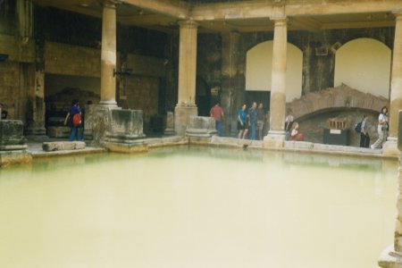 The baths, viewed from the lower level. I stuck my hand in, and was surprised to find how warm the water was.