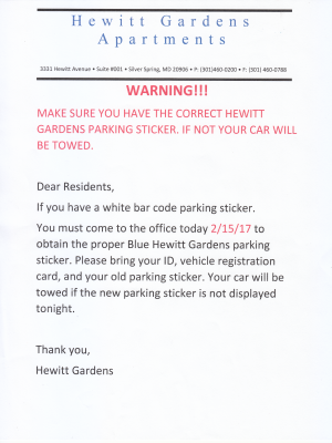 Memo warning that the barcoded parking permits were no longer valid