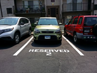 My reserved space, on the day that I took possession of it.