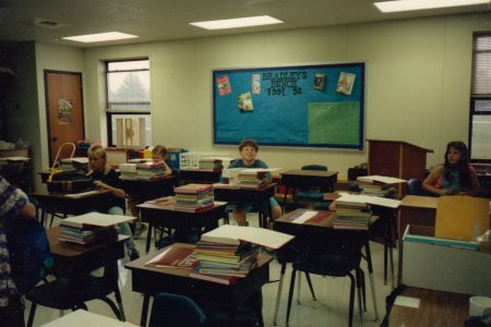 Mrs. Bradley's classroom for 1991-1992. The walls are bare, and that bulletin board didn't change the entire year.