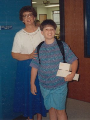Sharon Bradley in August 1991, posing with me on the first day of school