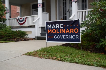 Political sign for Marc Molinaro in front of a nearby house (spoiler: he lost the election to incumbent Andrew Cuomo by a good amount).