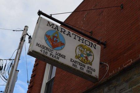 Sign outside Marathon Masonic lodge.