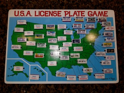 We saw license plates from 32 states, plus Ontario and Quebec license plates, and that St. Maarten plate.  The only rule was that you don't get to turn Maryland until you're out of the neighborhood and actually spot it on the road.