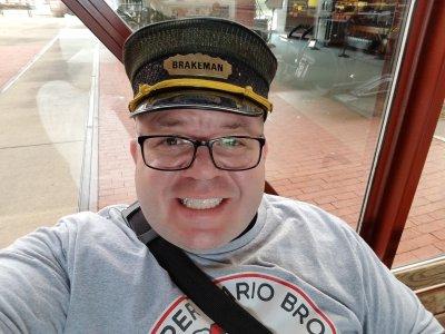 """Wearing a """"BRAKEMAN"""" hat"""