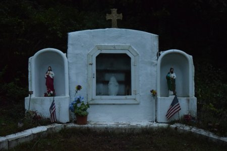 The Byrnesville Shrine of the Blessed Mother, constructed from a fireplace and two bathtubs.