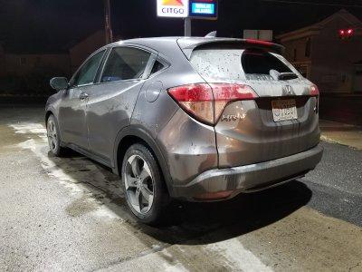 Dirty car, rear view.
