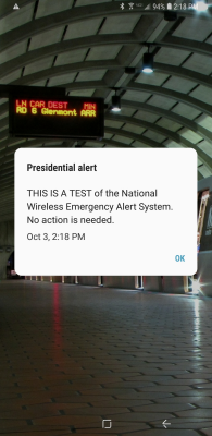 """Presidential alert: THIS IS A TEST of the National Wireless Emergency Alert System. No action is needed."""