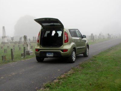 At Edge Hill Cemetery, getting ready to photograph in the fog.